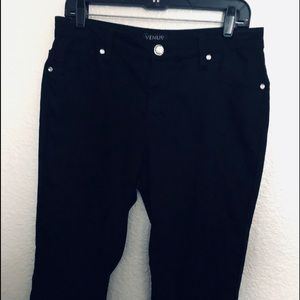BLACK VENUS SKINNY JEANS WITH JEWELED BUTTON